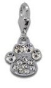 Rhinestone Pawprint with Clear Stones - Clip on Charm - Fits Thomas sabo style bracelet