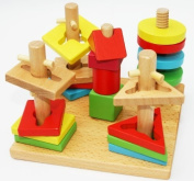 Toys of Wood Oxford Wooden Shape Sorter Stacker Puzzle Game - mind game children brain teaser game