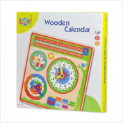 LELIN WOODEN CALENDER CLOCK CHILDRENS LEARNING EDUCATIONAL WEATHER SEASONS TOY