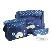 WPG 4pcs Dark Blue Cute As Button Embroidery Baby Nappy Changing Bags