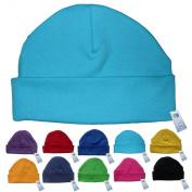 Newborn Baby Beanie Hat s (TURQUOISE) - Plain Soft 100% Cotton headwear New Baby Grow Boy Clothing Girl Cute Mum Dad Mummy Daddy Custom Parent Birth Gift bib Present by Fonfella