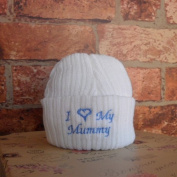 I Love My Mummy Newborn Baby Novelty Slogan Knitted Hat