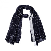 JewelryWe Fresh Sweet Marine Style Anchor Print Cotton Voile Scarf Shawl Long Wrap Blue Women Ladies Gift