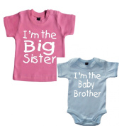 Matching 'I'm the Big sister ' t-shirt and 'I'm the baby brother' bodysuit set