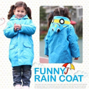 Blue HuntGold Cute Kids Children Boy Girl Rain Coat Outwear Cartoon Hooded Waterproof Raincoat