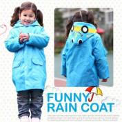 HuntGold Cute Kids Children Boy Girl Rain Coat Outwear Cartoon Hooded Waterproof Raincoat