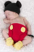 Photography Prop Baby Costume Cute Crochet Knitted Hat Cap Girl Boy Nappy Shoes Mouse