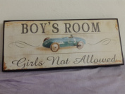 BOYS ROOM - Girls not allowed vintage look wooden plaque bedroom sign race car