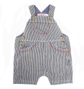 Plum Collections Baby Boy's 12-18 (up to approx 12kg) Months Navy & White Stripe Summer Denim Dungarees
