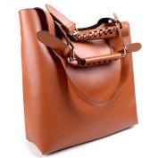 SAVFY 2 in 1 Womens Ladies New Elegant Vintage Tote Bag Celebrity Premium PU Leather Belted Hobo Shoulder Handbag Shopper Bag, with detachable straps shoulder bag, Adjustable Satchel Weave handle, with Inner Zipped Removable Pouch