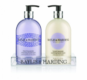 Baylis and Harding Mosaic French Lavender 2 Bottle Set in a Clear Acrylic Rack