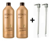 . REDKEN DIAMOND OIL SHAMPOO & CONDITIONER 1000ML + PUMPS 1 LITRE DUO