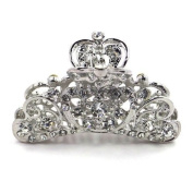 Bride Boutique Bridal Wedding Prom Silver Clear Crystal Vintage Heart Hair Claw Clip Grip Clamp