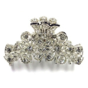 Bride Boutique Wedding Prom Silver Clear Crystal Vintage Flowers Hair Claw Clip Grip Clamp