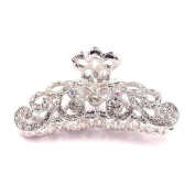 Bride Boutique Bridal Wedding Prom Silver & AB Crystal Vintage Style Hair Claw Clip Grip Clamp