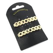 2 Gold Circle Metal Hair Clips AJ25715