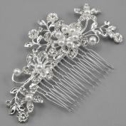 Caltrad Bridal Silver Diamante Hair Comb Clip for Wedding/Party/Prom