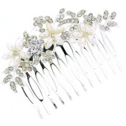 Bridal Hair Accessories - Silver, Crystal & Pearl Flower Hair Comb Slide