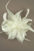 Allsorts® Cream Feather Comb Fascinator Brooch Pin Ladies Day Royal Ascot Weddings