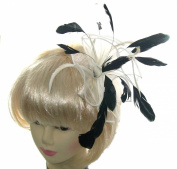 Beautiful Ivory Cream Fascinator with striking cream and black feathers for special occasions