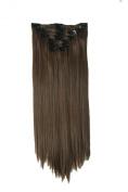 60cm Full head Clip In Hair Extension Straight Black Brown Blonde 8 Pcs