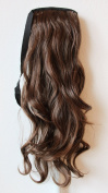 60cm & 100g Hair Piece Clip In Pony Tail Extension Very LONG & SEXY Curled Wavy Heat-Resisting Like Real Human Hair (medium brown mix # 4/30