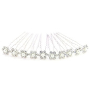 Bride Boutique Bridal Wedding Prom Silver Crystal Diamante & Pearl Flower Hair Pins Clips Grips