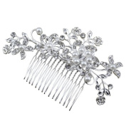 Bridal Stunning Wedding Crystal Pearl Rhinestones Diamante Hair Comb Clip