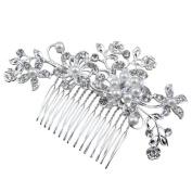 Bridal Stunning Wedding Crystal Pearl Rhinestones Diamante Hair Comb Clip