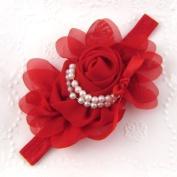 Girls Chiffon Pearl Headband Baby Rose Satin Bow Hairband