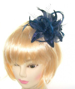 Beautiful double head Navy Blue Fascinator on Slim Elegant Band, Weddings, Races