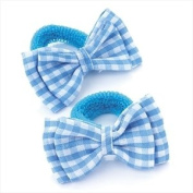 2 x Girls Blue & White Gingham Bow Motif Hair Bobbles/ Elastics/ Ponios