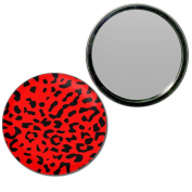 Red Leopard Print - 77mm Round Compact Mirror