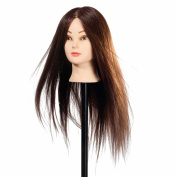 90% Professional Real Hair 60cm Hairdressing Training Mannequin Head w/Clamp For College and Professional Use