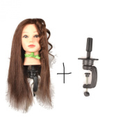 46cm 100% Real Human Hair Dark Brown #4 , Female Barber Hairdresser Hair Hairdressing Hair Cutting Student Practise Training Head Doll Mannequin with clamp holder