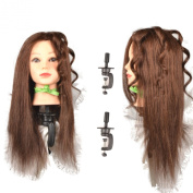 5.1cm x 46cm ,100% Real Hair Training Head, with clamp
