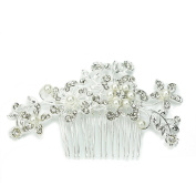 Charm Bridal Wedding Silver Crystal Rhinestones Pearls Women Hair Comb Clip Hot