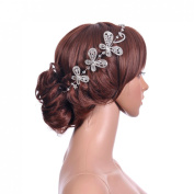 Topwedding Butterfly Shaped Wedding Headband Bridal Crystal Beads Hair Accessory for Bride Clips