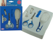 BRAND NEW - BABY GROOMING SET - COMPLETE WITH SAFETY SCISSORS / NAIL CLIPPERS WITH 2 EXTENSION TOOLS AND SOFT BRISTLES BRUSH - BLUE