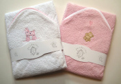 A Set of Two Luxury Hooded Baby Bath Towels - 100% Cotton In Pink or Blue with Cute Animal Appliques