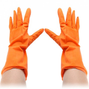 Houseworking Orange Rubber Dish Clothes Washing Cleaning Gloves Pair
