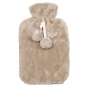 Hot Water Bottle With Removable Cream Faux Fur Cover