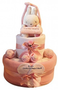Two Tier Pink baby Girl Nappy Cake Baby Gift with Miffy Door Hangar. Pink)