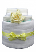 New 1 Tier Yellow Nappy Cake for Unisex Baby - shower, maternity gift