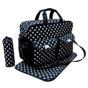 Black 3pcs Baby Nappy Nappy Changing Bag Set E:Polka Dot