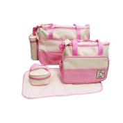 In 5 Colours, 5 Piece Baby Changing Bag - Pink