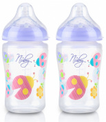 Nuby Natural Touch 260ml SoftFlex Natural Nurser (Pink Decoration) Twin Pack