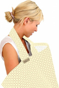 BebeChic * 100% Cotton * Breastfeeding Cover *105cm x 69cm* Boned Nursing Apron - with drawstring Storage Bag - buttercream / multi dot