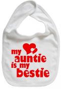 Dirty Fingers, My Auntie is my Bestie, Boy Girl Feeding Bib, White
