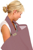 BebeChic * 100% Cotton * Breastfeeding Cover *105cm x 69cm* Boned Nursing Apron - with drawstring Storage Bag - plum / ivory dot